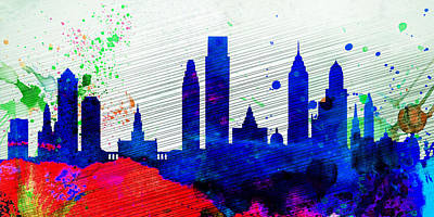 Philadelphia Wall Art - Painting -  Philadelphia City Skyline by Naxart Studio