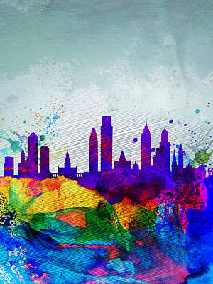 Philadelphia Painting -  Philadelphia Watercolor Skyline by Naxart Studio