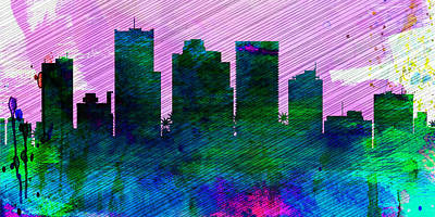 Phoenix Painting -  Phoenix City Skyline by Naxart Studio