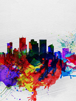 Architectural Painting -  Phoenix Watercolor Skyline 2 by Naxart Studio