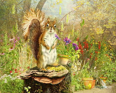 Squirrel Mixed Media -  Picking Fresh Flowers by Trudi Simmonds