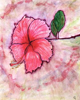 Rose Of Sharon Painting -  Pink Hibiscus by Terry Fleckney