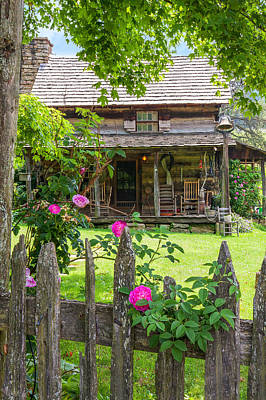 Photograph -  Pioneer Farm With Roses by Mary Almond