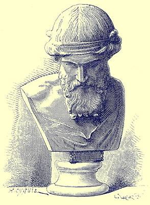 Signed Drawing -  Plato by Chapuis