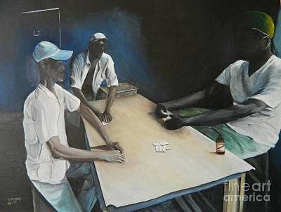 Sports Bar Art Painting -  Playing  Dominoes by Kenneth Harris