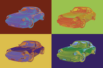 Expensive Digital Art -  Porsche Carrera Sports Car Pop Art by Keith Webber Jr