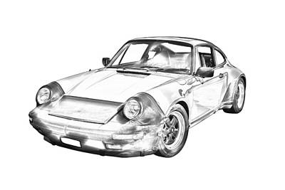 Photograph -  Porsche Carrera Sportscar Illustration by Keith Webber Jr