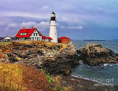 Photograph -  Portland Head Lighthouse by Nick Zelinsky