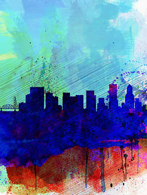Portland Painting -  Portland Watercolor Skyline by Naxart Studio