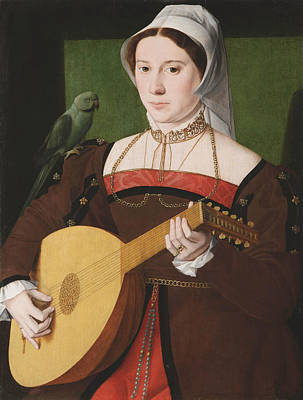 Portrait Of A Woman Playing A Lute Art Print