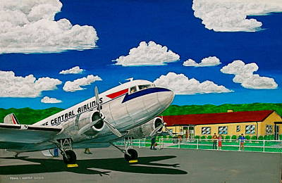 Portsmouth Ohio Airport And Lake Central Airlines Art Print by Frank Hunter