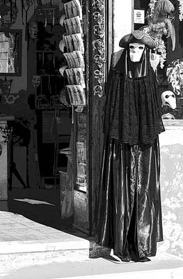 Volto Photograph -  Poster Look Shop With Carnevale Di Venezia Masks Bw by Sally Rockefeller