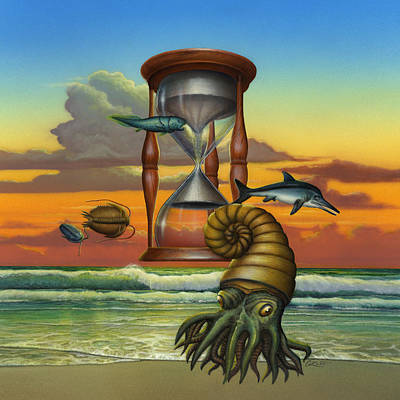 Prehistoric Animals - Beginning Of Time Beach Sunrise - Hourglass - Sea Creatures Square Format Print by Walt Curlee