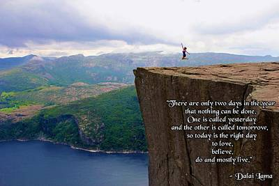 Preikestolen Pulpit Rock Norway Dalai Lama Quote  Art Print