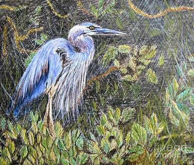Painting -  Ptg  Blue Heron by Judy Via-Wolff