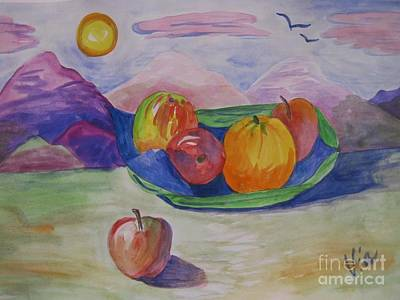 Painting -  Ptg.fruit In A Landscape 2 Demo by Judy Via-Wolff