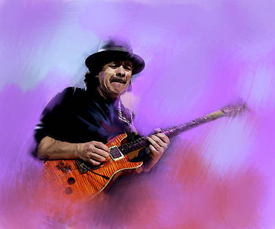 Painting -  Pura Vida IIi Carlos  Santana by Iconic Images Art Gallery David Pucciarelli