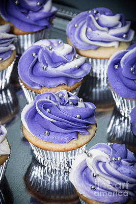 Photograph -  Purple And Silver Cupcakes by Cheryl Baxter
