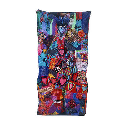 Tapestry - Textile -  Queen Of Hearts by Gwendolyn Aqui-Brooks