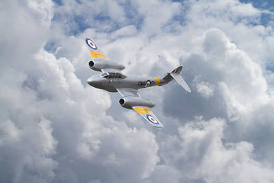 Fighter Aircraft Digital Art -  Raf Meteor - 1940s Cutting Edge by Pat Speirs
