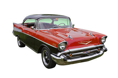Photograph -  Red And Black 1957 Chevy Belair by Keith Webber Jr