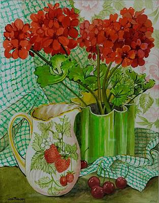 Gingham Painting -  Red Geranium With The Strawberry Jug And Cherries by Joan Thewsey