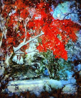 Photograph -  Red October Snow by Janine Riley