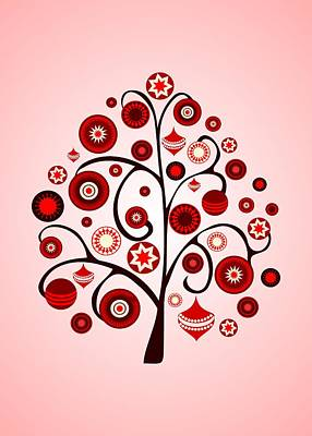 Red Ornaments Art Print by Anastasiya Malakhova
