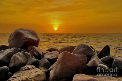 Red Sea Sunset Art Print by George Paris