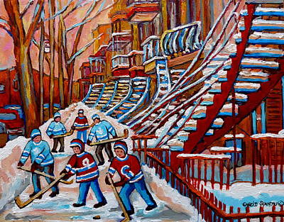 Montreal Art Verdun Street Scenes Painting -  Red Staircases -paintings Of Verdun Montreal City Scene - Hockey Art - Winter Scenes  by Carole Spandau