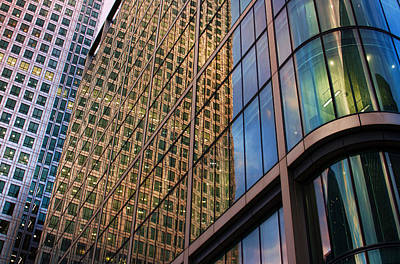 Photograph -  Reflections On Canary Wharf by Nicky Jameson