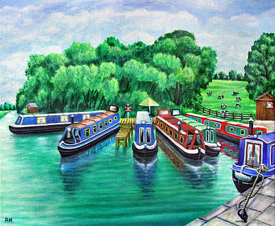 Barges Painting -  Riley Green Canal Boats by Ronald Haber