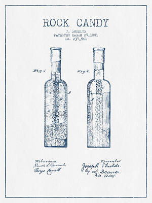 Candy Digital Art -  Rock Candy  Patent Drawing From 1881 - Blue Ink by Aged Pixel