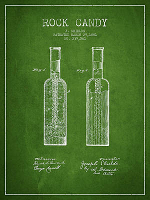 Candy Digital Art -  Rock Candy  Patent Drawing From 1881 - Green by Aged Pixel