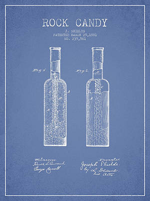 Candy Digital Art -  Rock Candy  Patent Drawing From 1881 - Light Blue by Aged Pixel