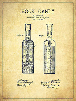 Candy Digital Art -  Rock Candy Patent Drawing From 1881 - Vintage by Aged Pixel