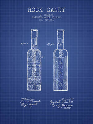 Candy Digital Art -  Rock Candy  Patent From 1881  - Blueprint by Aged Pixel