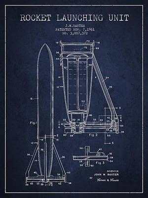 Rocket Launching Unit Patent From 1961 Print by Aged Pixel