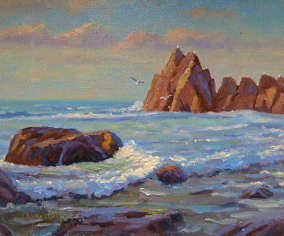 Painting -  Rocks West Coast by Terry Perham