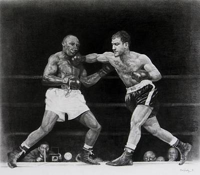 Art Print featuring the drawing Rocky Marciano by Noe Peralez