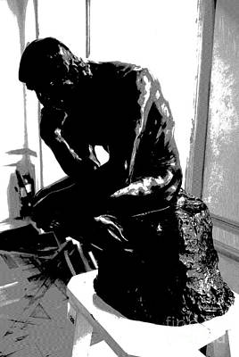 Rodin  -  The Thinker Art Print by Jacqueline M Lewis