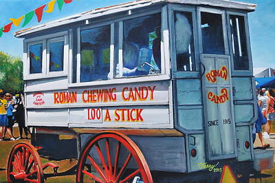 Painting -  Roman Candy Guy At Jazz Fest by Terry J Marks Sr