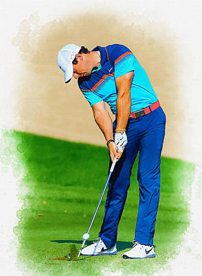 Rory Mcilroy Plays His Second Shot On The Par 4 Art Print