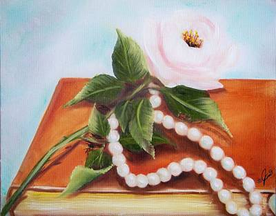 Painting -  Rose And Pearls by Joni McPherson