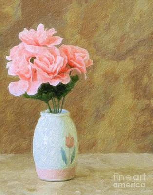 Photograph -  Roses On Canvas by Ed Churchill