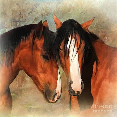 Shire Horse Digital Art -  Rosie And Bella by Trudi Simmonds