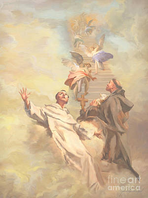 St Francis Prayer Painting -  Saint Benedict And Saint Francis Of Assisi by John Alan  Warford