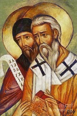 Slav Painting -  Saints Cyril And Methodius by Dragica  Micki Fortuna