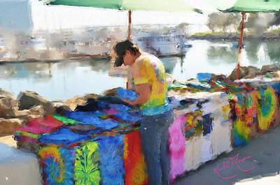 San Diego Artist Digital Art -  San Diego T Shirts Usa by Keith Thompson
