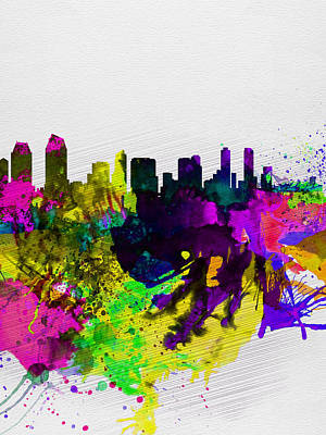 Architectural Painting -  San Diego Watercolor Skyline by Naxart Studio